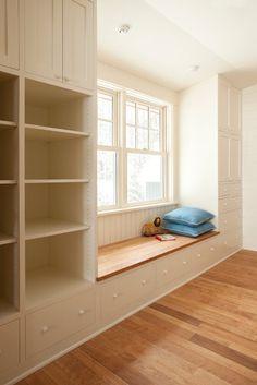 storage in hall, window seat