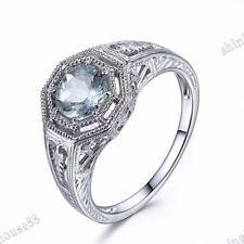 Fine Gemstone Solid 14K White Gold .67ct Aquamarine Round 6mm Cut Vintage Ring