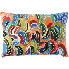 """Shop cosmo 18""""x12"""" pillow.   A rainbow of delicate threads intricately embroider an organic lichen-like pattern on 100% cotton.  Reverses to solid ivory."""