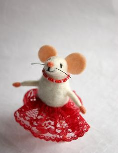 This felt mouse girl is very happy and handsome needle felted mouse lady. Miniature cute mouse figurine is a great gift idea for friends, family members or colleagues on birthday and other celebrations. It is nice collectable woolen animal and great present for everyone who admires handmade Eco-friendly creations. Mouse has a cute and sweet face, it has a wired skeleton inside and you can move its legs and tail. Mouse figurine is about 10cm (4 inches) high. It is made of wool and is 100% Eco…