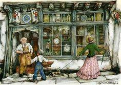 The Clock Shop - Anton Pieck, Dutch painter, artist and graphic artist… Anton Pieck, Clock Shop, Dutch Painters, Dutch Artists, 3d Prints, Pics Art, Book Illustration, Sketches, Drawings
