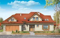 Projekt Joanna jest dużym, wygodnym domem parterowym z poddaszem użytkowym o rozległej, rozbudowanej bryle. Jest to propozycja dla Klientów lubiących wielospadowe dachy i duże lukarny. Główna bryła połączona jest łącznikiem z bryłą garażu. Projekt domku charakteryzuje się tradycyjną, konserwatywną architekturą - z nowoczesnymi elementami.