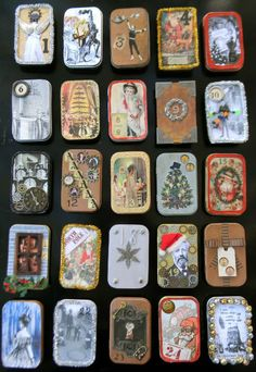 Steampunk advent calander, mars out of Altoid tins. Brilliance! Original idea has non gift items inside, just a pretty. But easy enough to adapt into gifts!