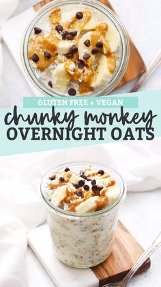 Chunky Monkey Overnight Oats (Gluten Free + Vegan) - - Chunky Monkey Overnight Oats - Creamy peanut butter banana overnight oats with a little sprinkle of coconut and chocolate. You'll LOVE this make-ahead breakfast! Overnight Oats Vegan Rezept, Low Calorie Overnight Oats, Overnight Oats With Yogurt, Peanut Butter Overnight Oats, Healthy Peanut Butter, Best Overnight Oats Recipe, Peanut Butter Banana, Creamy Peanut Butter, Weight Watcher Overnight Oats