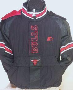 Vintage Chicago Bulls NBA Youth Size Medium Starter Pullover Winter Jacket Coat #Starter #ChicagoBulls
