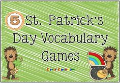 St. Patrick's Day Vocabulary Center Games x 5 St. Patrick's Day literacy center games in both color and black and white.Your group games all include instructions as well as a color and black and white version of all 5 games and an individual student record sheet for each game. The vocabulary/picture cards are designed to be used with each game, there are 32 in total.   http://www.teacherspayteachers.com/Product/St-Patricks-Day-Vocabulary-Center-Games-x-5-27-pages