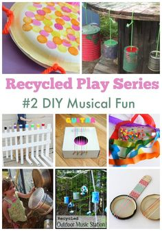 DIY Recycled Play Ideas - Make your own musical instruments using recycled materials. See them all at Mummy Musings and Mayhem! by shana Preschool Music, Music Activities, Preschool Activities, Toddler Crafts, Toddler Toys, Crafts For Kids, Recycler Diy, Making Musical Instruments, Homemade Instruments