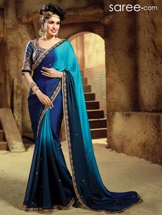 SEA GREEN AND BLUE CHIFFON SAREE WITH RESHAM WORK