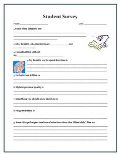 back to school student survey free august classroom pinterest