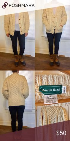 Vintage Chunky Wool Button Down Cardigan Super warm cable knit cardigan with wooden buttons and front pockets. 100% wool shetland. Oversized style. Garment Tag reads size small, but honestly it fits more like a medium. Great vintage condition, no pilling but there is one faint spot  to the left of the button second from the top. You can barely see it in the first photos where I model, and it just came back from the dry cleaner. Carroll Reed Sweaters Cardigans