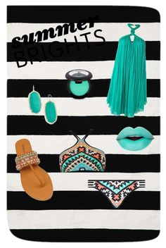 Turquoise Summer Brights by thepreppy-equestrian on Polyvore featuring polyvore fashion style Jay Ahr Seafolly Kendra Scott Home Decorators Collection clothing summerbrights