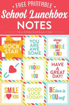 Free Printable Lunch Box Notes - Creative DIY and Crafts Exchange - Lunch Box Note Printables For Back To School, A Delightful Way To Start The School Year! Kids Lunch Box Notes, Kids Lunch For School, School Snacks, Lunch Snacks, Kid Lunches, Kid Snacks, Planer, Kids Meals, Free Printables