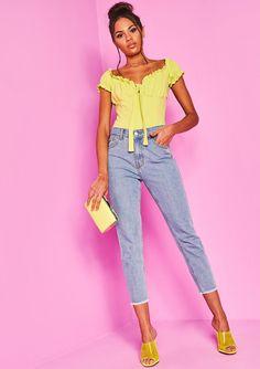 228e3d212a Missyempire - Joelle Denim Contrast Pocket Star Mom Jeans
