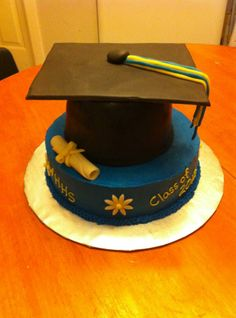 This is a graduation cap cake with home made fondant accents.
