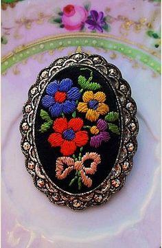 Vintage Embroidered Oval Brooch - Summer Flowers Austria from artsfarmstudio on Ruby Lane