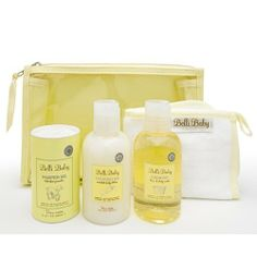 Belli Baby Gift Set by Belli Cosmetics. $33.50. Our Belli Baby Gift Set will provide the most luxurious pampering experience for your baby. Belli is a luxury skin care line that will create beautiful moments for parents and babies to share. Go ahead and pamper your baby with this gift set or share the secret and give it out as a gift. The set includes a hair & body wash (4 oz.), body lotion (4 oz.), and a talc-free powder (2 oz.).