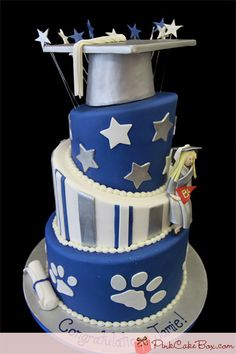 "High School Grad Cake » instead of striped layer, put ""2014"" with small panther paws"