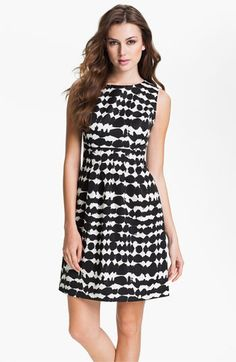 Donna Ricco Sleeveless Top Stitch Fit & Flare Dress | Nordstrom