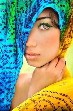 blue, aqua, green, marigold yellow