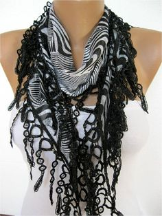 New Elegant Scarf Cotton Scarf with Trim Edge by MebaDesign