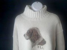 RALPH LAUREN Womens XL Sweater Turtle neck Dog Logo #RalphLauren #Turtleneck
