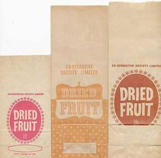 3 VINTAGE COOP SOCIETY PAPER BAGS FOR DRIED FRIUT - GREAT FOR OLD SHOP DISPLAY
