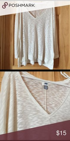 White Burn Out sweater White, V neck, sweater with burnout design. Old Navy Sweaters V-Necks