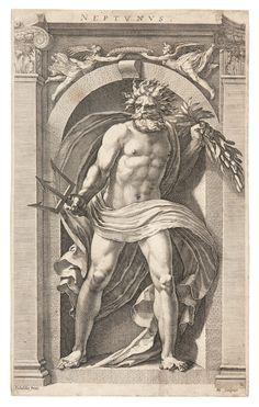 Neptune, Hendrick Goltzius, after Polidoro da Caravaggio, 1592 - Rijksmuseum Poseidon, Renaissance Kunst, Alchemy Art, Roman Gods, Greek And Roman Mythology, Classic Paintings, Greek Art, Bear Art, Medieval Art