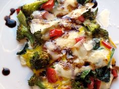 Vegetable Omelette with Pecorino Romano & Aged Balsamic Breakfast Time, Omelette, Fall Recipes, Broccoli, Plates, Meat, Chicken, Vegetables, Heaven