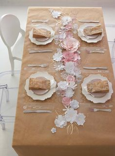 Tablescape ● paper tablecloth & Flowers