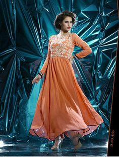 Designer Orange Georgette Embroidery Kurti By Shreeji Fashion Kurtas and Kurtis For Women