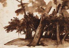 Claude Gellée, known as Claude Lorrain (1600 or 1604/05 – 1682)  circa 1640-45  Graphite, pen and brown ink, brown wash – H. 14.7 cm; W. 20.5 cm