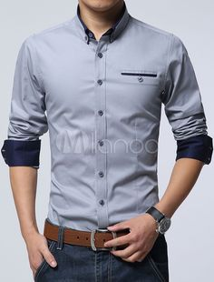 Men Dress Shirt 2016 Hot Men's Slim Fit Long Sleeve Shirts Chemise Homme Camisas Mens Clothing Solid Patchwork Dress Shirts Cotton Shirts For Men, Casual Shirts For Men, Men Casual, Men Shirts, Stylish Shirts, Smart Casual, Casual Outfits, Converse Outfits, Cowboy Outfits