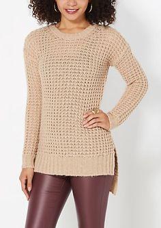 Tan Chunky Waffle Knit Sweater | rue21