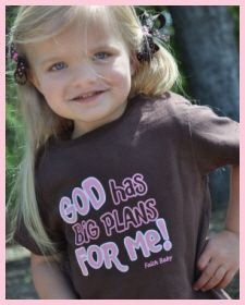 Christian Clothing | Faith Baby | God has big plans for me! Pink on Brown toddler shirt  FaithBaby.com