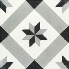 "White, Black & Grey Diagonale Star Carocim Tile (8"" x 8"") (pack of 12)"