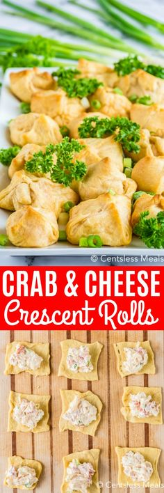 Homemade crab and cream cheese filled crescent rolls are a tasty appetizer or snack! The filing is made with cream cheese mayonnaise and green onions and baked in pastry dough or wontons. They are a super easy appetizer that my family loves! Crescent Roll Appetizers, Cream Cheese Crescent Rolls, Crescent Roll Recipes, Recipes Appetizers And Snacks, Crab Recipes, Yummy Appetizers, Mayonnaise, Crab Appetizer, Amigurumi