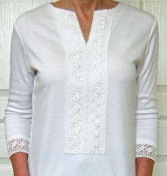 Create a lace tunic using 2 store bought shirts.