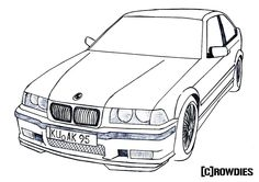 #drawing #zeichnung Dope Cartoon Art, Dope Cartoons, Bmw Suv, Bmw Cars, Cars Coloring Pages, Coloring Books, Bmw E36 Compact, Carros Bmw, Bmw Classic Cars