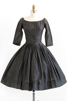 vintage 1950s brown + black checkered ballerina party dress |  New Look dress | www.rococovintage.com