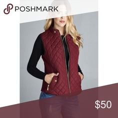 Quilted Puffer Vest Burgundy Be on trend this Fall with this Quilted Puffer Vest in a beautiful burgundy with chocolate colored piping. Stylish gold zip up front and pockets plus gold faux snaps to complete the look. Stretch knit on sides allow for easy movement. ACTIVE USA Jackets & Coats Vests