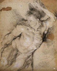 "urgetocreate: "" Peter Paul Rubens, Male Nude Study, chalk on paper "" Male Figure Drawing, Figure Sketching, Guy Drawing, Life Drawing, Drawing Sketches, Painting & Drawing, Art Drawings, Peter Paul Rubens, Baroque Art"