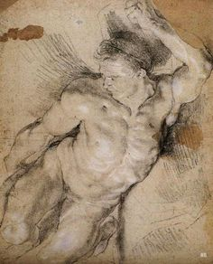 Male Nude Study. Peter Paul Rubens. Flemish. 1577-1640. chalk on paper. http://hadrian6.tumblr.com