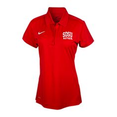 Nike Women's SDSU Aztecs Polo Nike women's Dri-Fit polo with side seam vents and four button placket, featuring SDSU Aztecs screen printed on the left chest. Also available in black. $53
