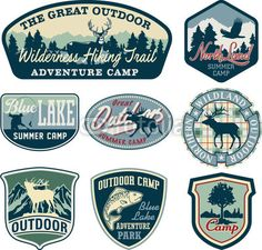 Vector: Outdoor camping badges