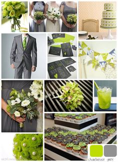 Wildflower Weddings Blog: Inspiration Board: Chartreuse and Grey