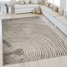 🌳Moderner Kurzflorteppich Mit Baum Muster🌳 #jahresringe #grau #teppich # Wohnzimmer