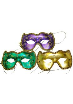 $3.95 Mardi Gras Eye Mask (Gold) for Halloween - Pure Costumes