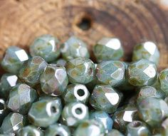 Moss green grey czech glass beads Picasso finish Fire by MayaHoney, $3.35