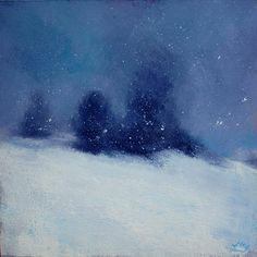 Snowfall on Mont Ventoux, John O'Grady - A small quiet painting with a dark blue sky and fresh pristine snow.